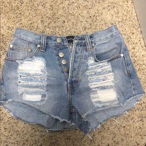 MINKPINK Denim Slasher Denim Shorts